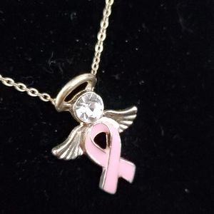 BREST CANCER AWARENESS  ANGEL PENDANT NECKLACE.
